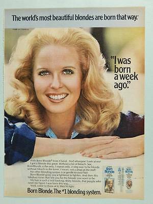 1977 Clairol Born Blonde Hair Color - Vintage Magazine Ad Page - Cute Girl