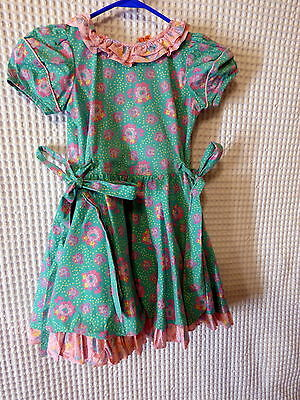80s Girls Mousefeathers pink/green floral dress 26 breast as is