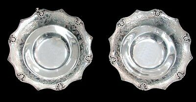 """MARVELOUS PAIR OF MAUSER STERLING SILVER 19th CENTURY HAND CHASED 11"""" BOWLS"""
