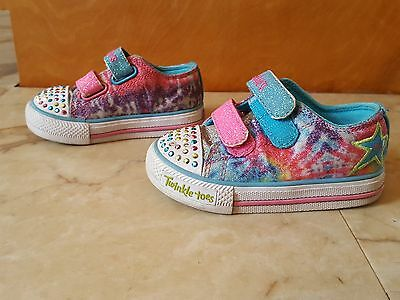 Toddler girl SKECHERS Twinkle Toes light up velcro sneakers shoes size 6