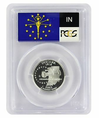 2002-S Flag Silver Indiana IN State Quarter PR69DCAM PCGS Proof 69 Deep Cameo