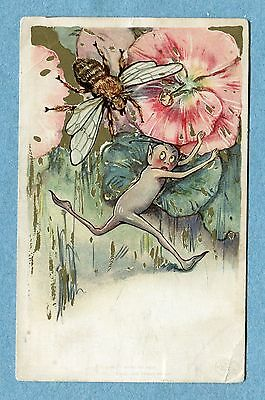 A5201  Postcard  Elf Running From An Insect By Runniing Under Pink Flowers