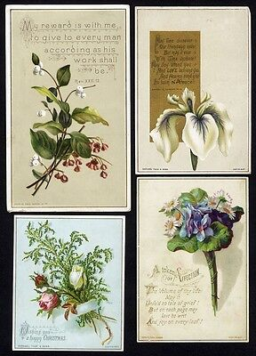 4 Victorian Cards RAPHAEL TUCK Floral Greetings Christmas Affection IRIS Roses