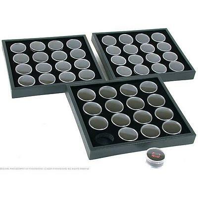 3 16 Black Gem Jars Display & Stackable Tray
