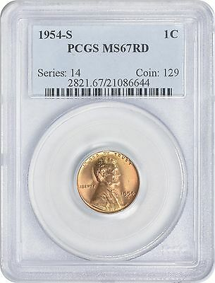 1954-S Lincoln Cent MS67RD PCGS Mint State 67 Red
