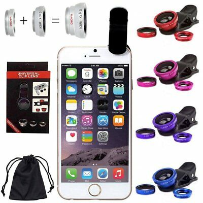 3in1 Universal Wide Angle+Fish Eye+Macro Clip On Camera Lens Kit For Smart Phone