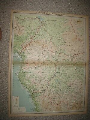 Large Antique 1922 Central Africa Times Atlas Map Colonial Chad Cameroons Conga