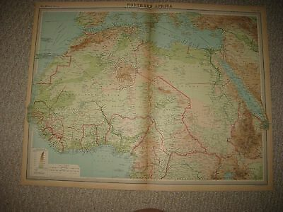 Large Antique 1922 North Northern Africa Times Atlas Map Colonial Areas Morocco