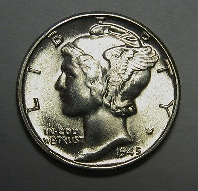 1945 Mercury Head Silver Dime Grading Choice Uncirculated Nice Original Coins