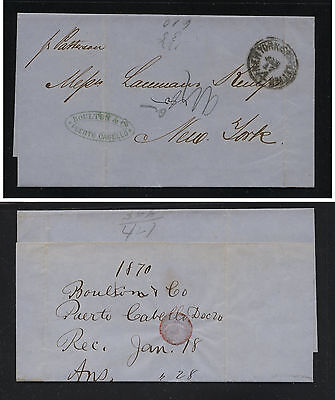 Venezuela   stampless cover to US  1859 NY  ship letter cancel        MS0215