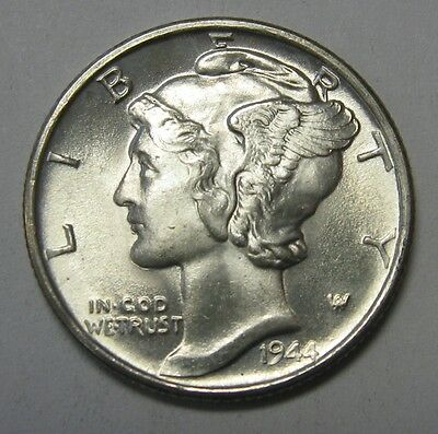 1944-S Mercury Head Silver Dime Grading Choice Uncirculated Nice Original Coins
