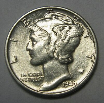 1944-D Mercury Head Silver Dime Grading in the AU Range Nice Original Coins