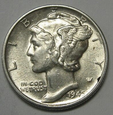 1945-D Mercury Head Silver Dime Grading in the AU Range Nice Original Coins