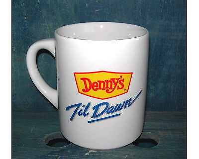 Denny's Til Dawn Coffee Mug with Moon Face Collectible Advertising Cup