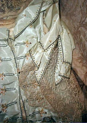 18th Cntry Antique FRENCH Silk,Metallic Embroidered Roses & Lace Bodice AS IS