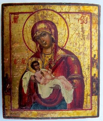 19th CENTURY RARE ANTIQUE RUSSIAN ICON OF HOLY VIRGIN