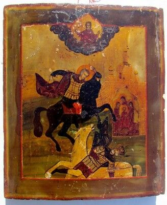 EARLY 19th CENTURY RARE ANTIQUE RUSSIAN ICON of ST.DEMETRIUS of THESSALONIKI
