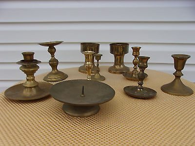 Mixed Lot of 10 Vintage Brass Candle Holders - Candlesticks - Patina