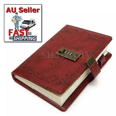 B6 Password Lock Notebook Leather Schedule Planner Red Rose Blank Diary Note