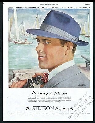 1949 Stetson Regatta fedora hat George Montgomery at yacht race pic print ad