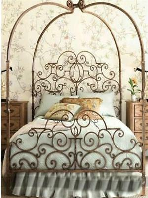 Ornate Elegant Victorian Style Canopy/Poster Iron Bed End Frame Queen BrassColor