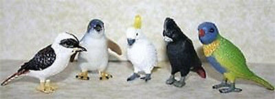 Set of 5 Five Australian Native Birds in Clampack - Cockatoo Kookaburra Lorikeet