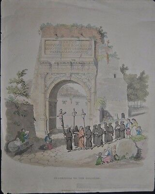 Procession to the Coliseum Ostern Prozession Kolosseum Rom Handkoloriert 1821