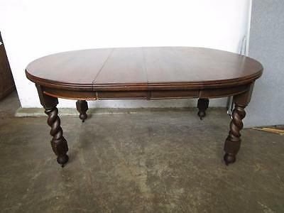 D15068 Antique Oak Barley Twist Oval Round Extension Dining Table
