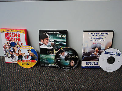 3 DVD Movie LOT (CHEAPER BY THE DOZEN / BELLA / ABOUT A BOY) GOOD Movies