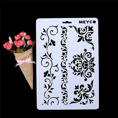 Plastic DIY Vine Flower Layering Stencils Album Stamping Drawing Template Tool
