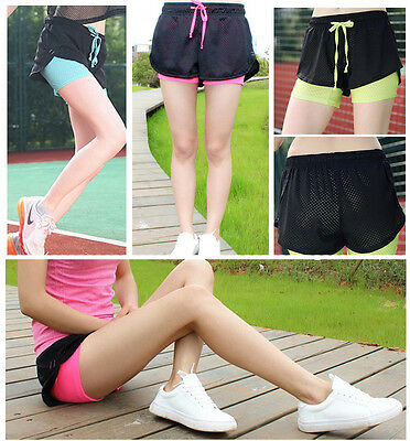Hot Sport Womens Active Wear Yoga Gym Shorts Fitness Running Fitted Bike Pants