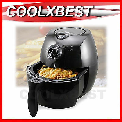 New Air Fryer 1500W Timer Temp Control Chips Nugget Snack No Oil Cooker Black