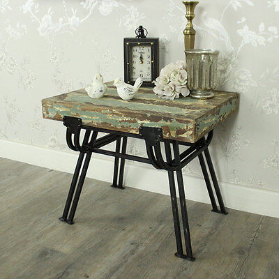 Wood metal distressed stool side table shabby chic living room bedroom furniture