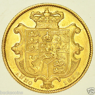 1832 SOVEREIGN, 2nd BUST, BRITISH GOLD COIN FROM WILLIAM IIII VF/GVF