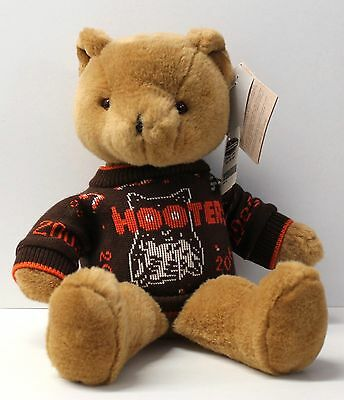 """HOOTERS 20th Anniversary 18"""" Brown Plush Teddy Bear with COA Certificate"""