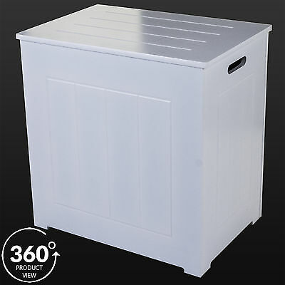 Large Laundry Bin Basket White Wood Rectangle Hamper Bathroom Bedroom Hinged Lid