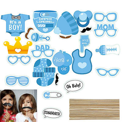 25x Photo Booth Props Baby Shower New Born Boy Mister Party Photography Kit Blue