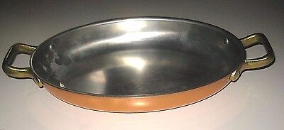 Vintage OVAL Copper Skillet Pan with Brass Handles Chef Quality Tagus Portugal