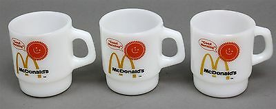 Set of 3 FIRE-KING MCDONALD'S GOOD MORNING MILK GLASS STACKING COFFEE MUGS CUPS