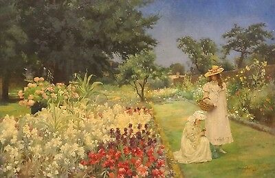 Large Circa 1900 Sisters Summer Garden Landscape Flowers Antique Oil Painting