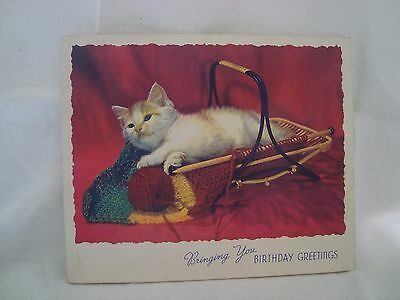 Vintage  Birthday Card  - Cat in a Knitting Bag