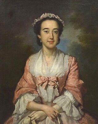 Fine Large 18th Century English Lady Portrait Pink Dress Antique Oil Painting