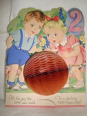 Vintage Birthday Card 2 Year Old - Paper Honeycomb Ball Fold Out