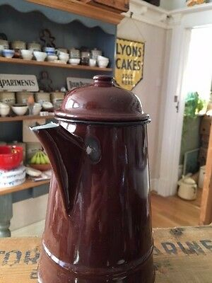 Vintage Traditional Brown Enamel Coffee Pot – Kitchenalia – Great! –