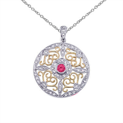 "14k Two-Tone Gold Ruby and Diamond Round Filigree Pendant with 18"" Chain"