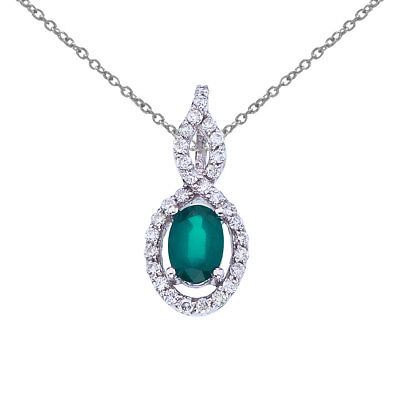 """14k White Gold Oval Emerald and Diamond Pendant with 18"""" Chain"""