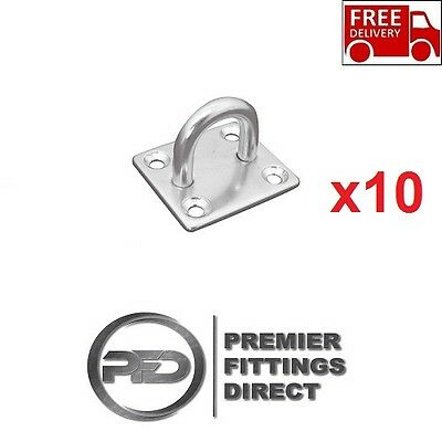 10 x EYE PLATES 5MM STAINLESS STEEL SCREW ON/WALL MOUNT/STABLE/YARD/HORSEBOX