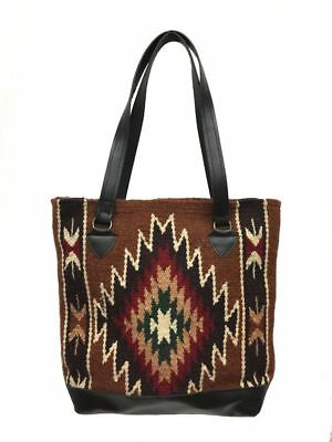 Ladies Tote Purse Handwoven Artisan Wool Handbag Faux Leather Bottom Southwest J