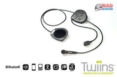 Twiins FF2 Motorcycle Hands Free Calling Bluetooth Intercom System Music, Phone