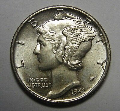 1941 Mercury Head Silver Dime Grading Choice Uncirculated Nice Original Coins